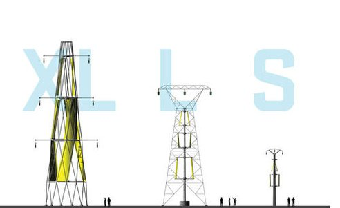 3 different scale of electrical transmission with wind power generators