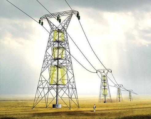 Electrical wind pylons, visualization.
