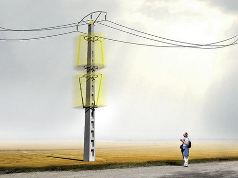 Electrical wind power on transmission line, visualization.