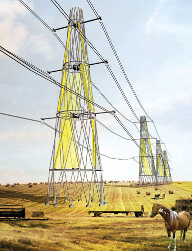 Electrical wind towers, visualization.